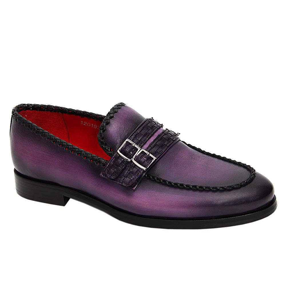 Purple Alistair Hand Painted Italian Leather Loafers