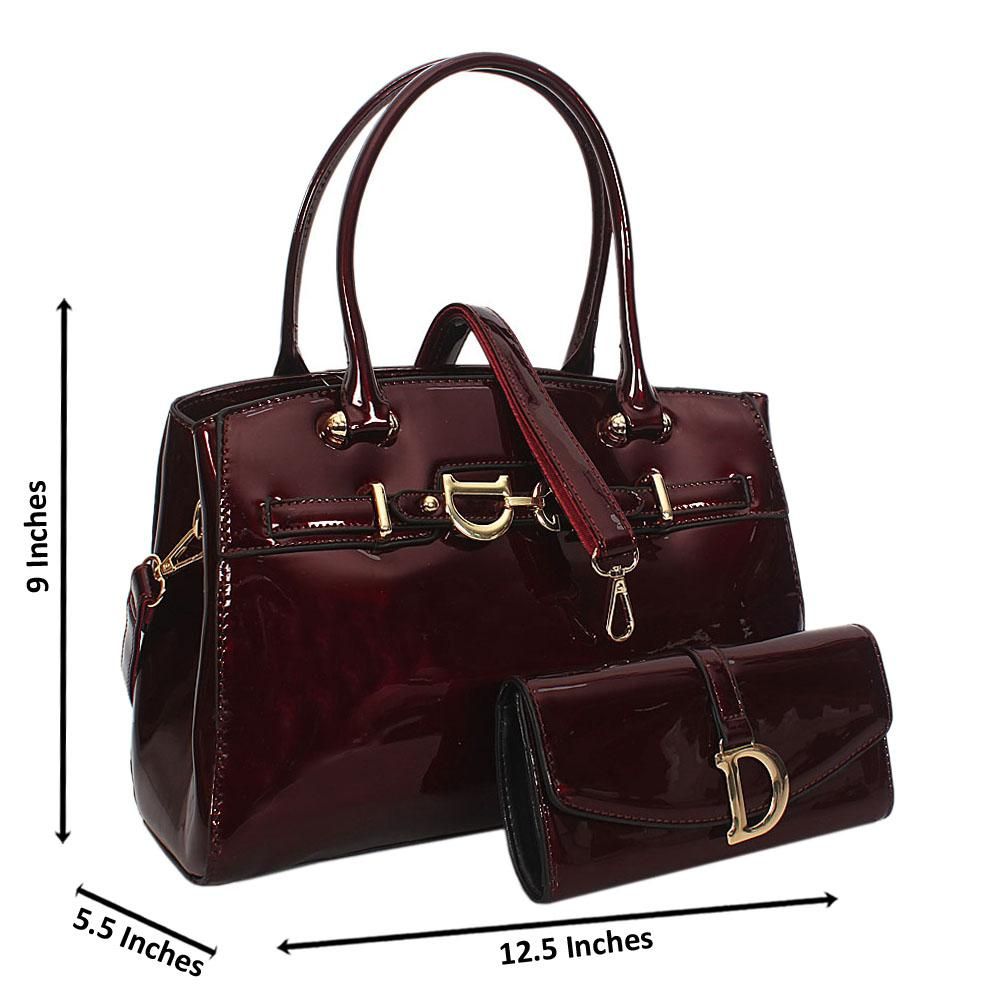 Callie Wine Patent Leather Tote Handbag Wt Purse