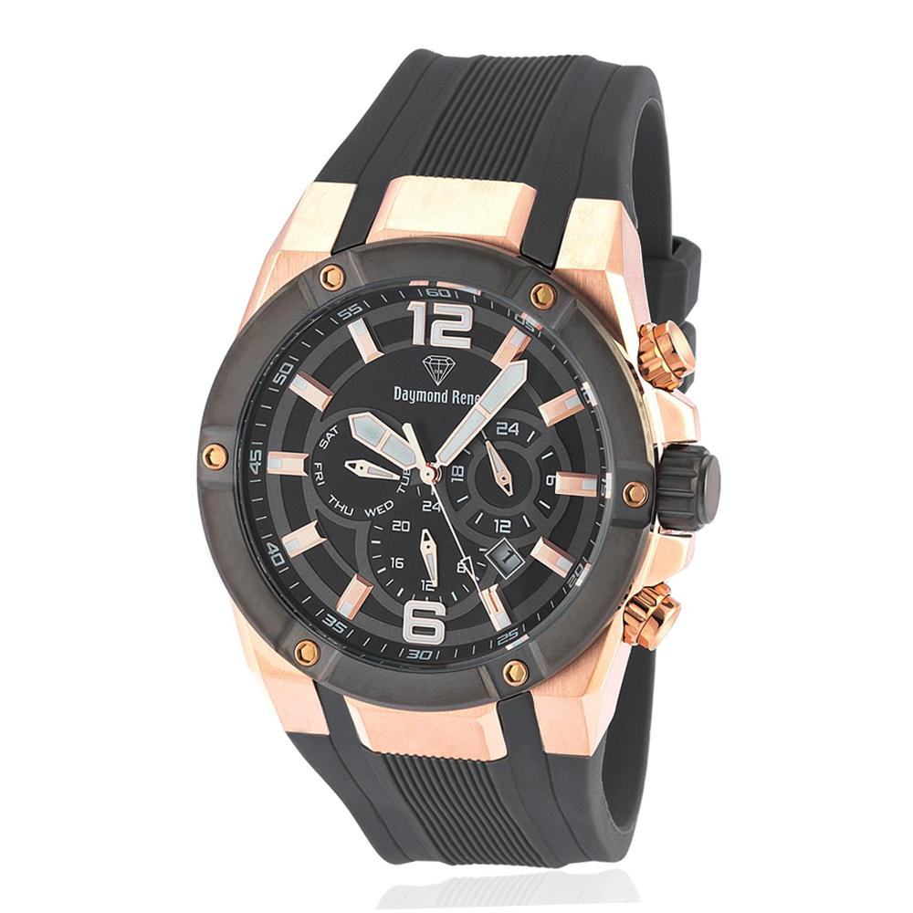 DR 10ATM Gray Rose Gold Rubber Chronograph Watch