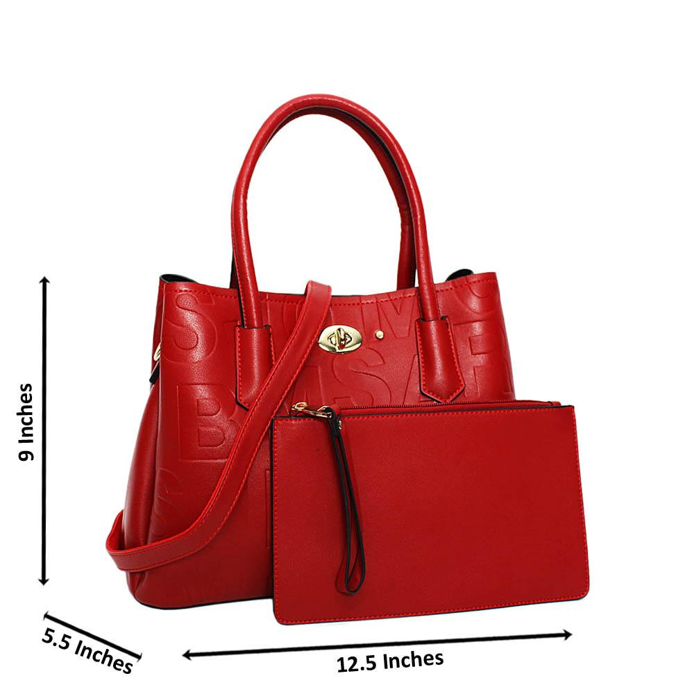 Red Kylie Embossed Leather Medium Tote Handbag