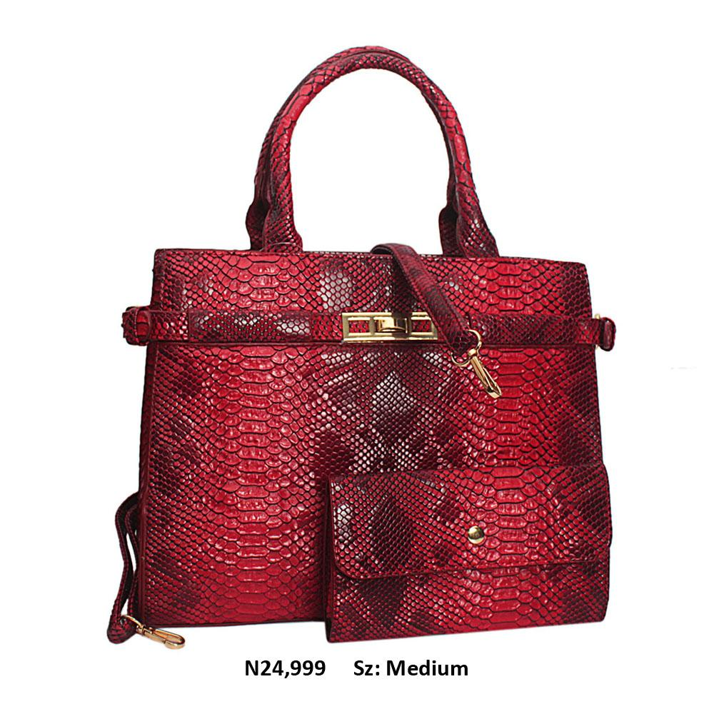 Wine Snake Skin Style Leather Tote Handbag