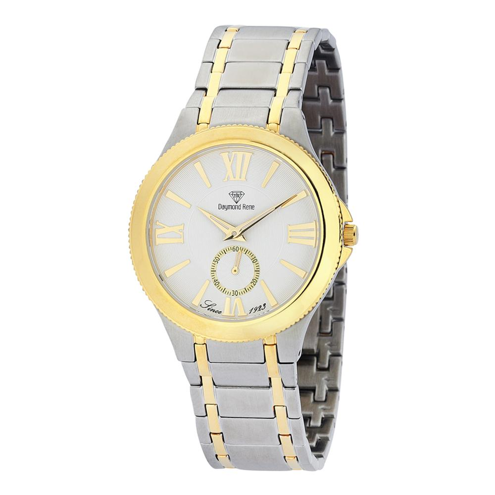 DR 3ATM Silver Gold Stainless Steel Classic Flat Watch