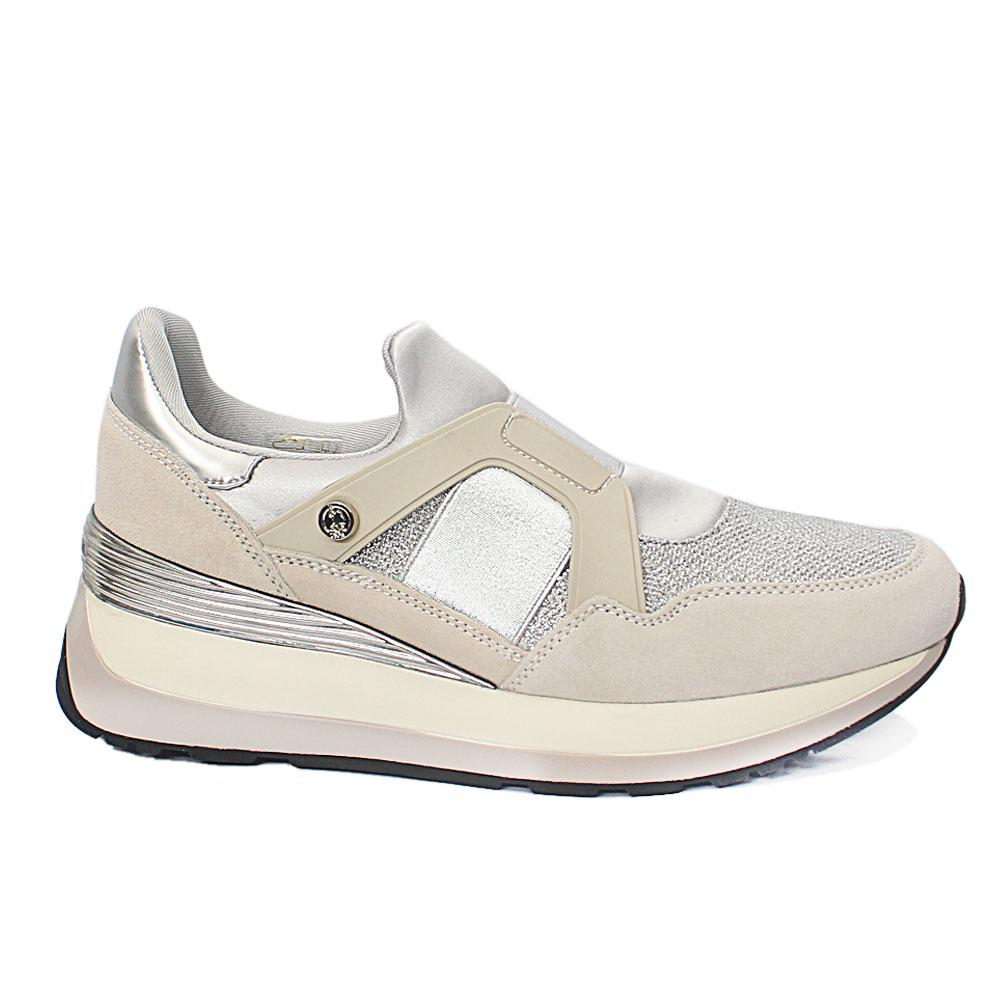 USSPA Off White Silver Suede Leather Ladies Sneakers