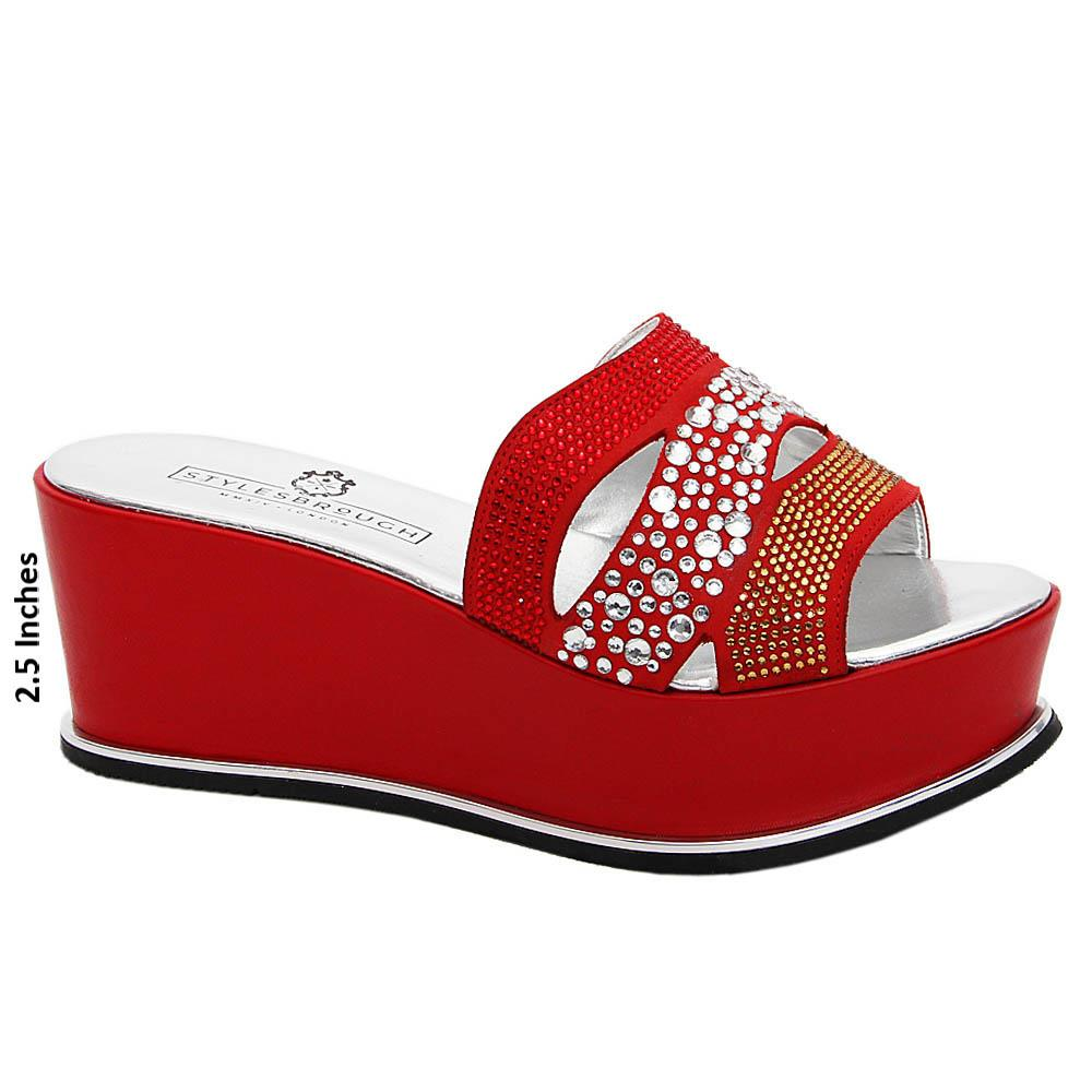 Red Lia Studded Italian Leather Wedge