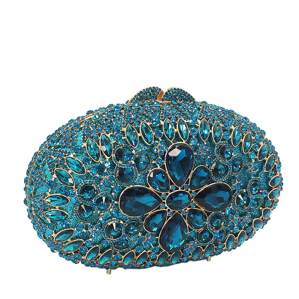 Blue Diamante Crystals Clutch Purse