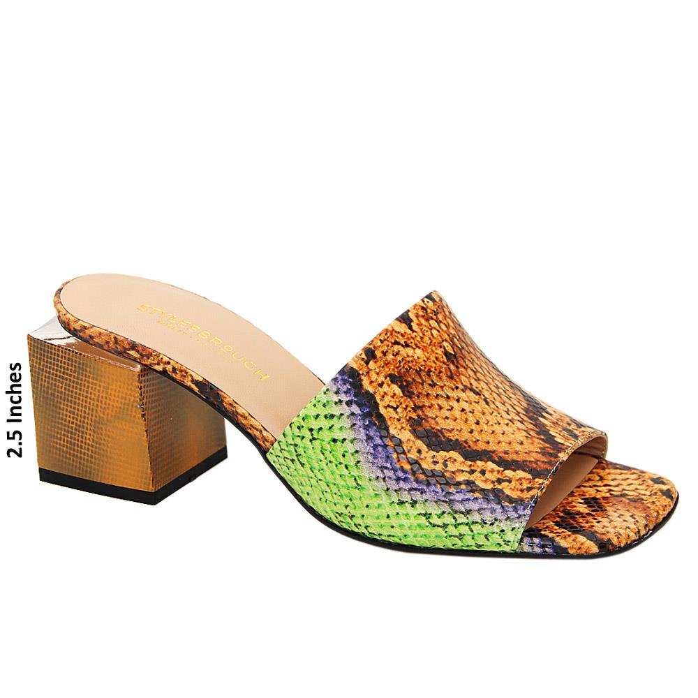 Brown Green Mix Elise Tuscany Leather Mid Heel Mule