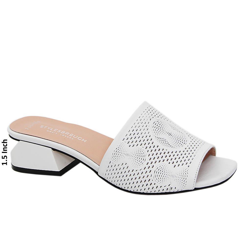 White Angelina Tuscany Leather Mid Heel Mule