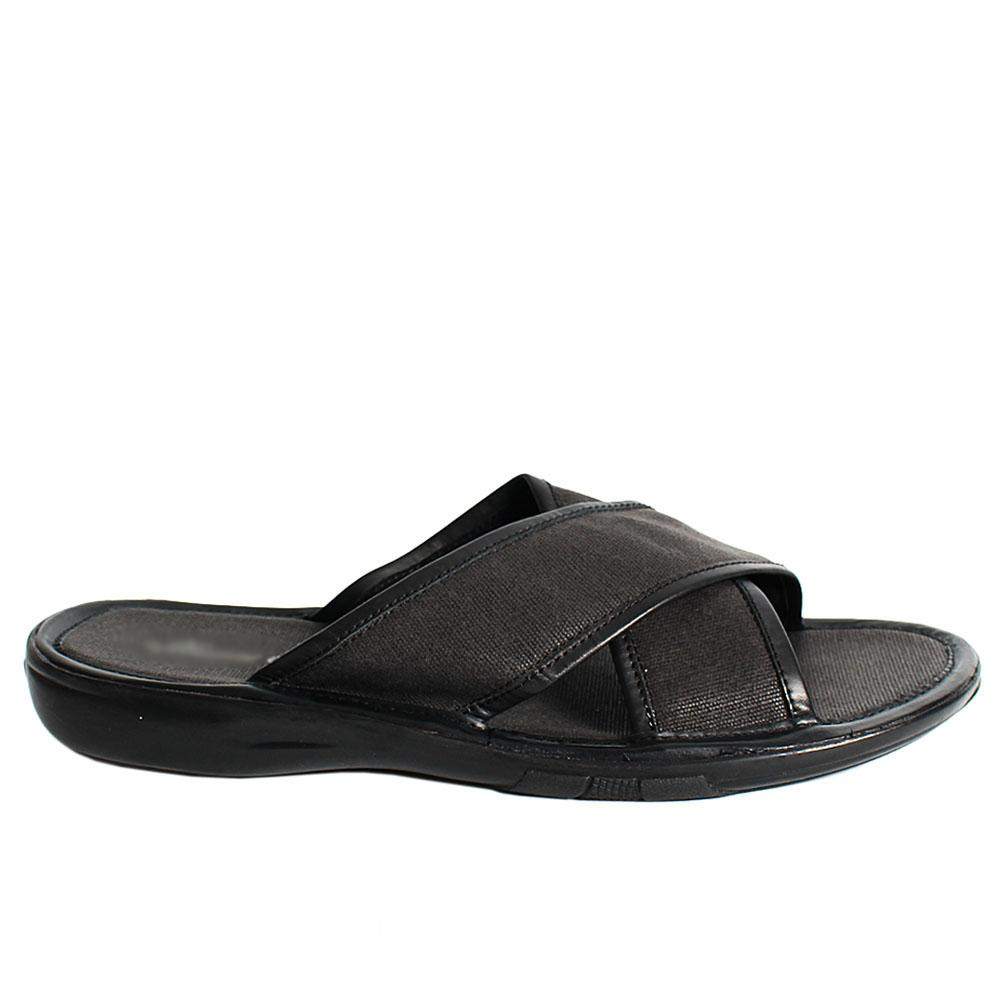 Black Fabric Men Slippers