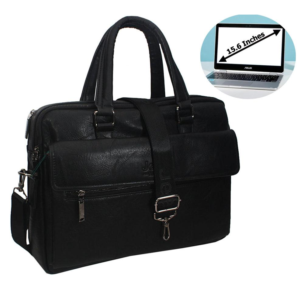 Black Gael Leather Double Zipper Briefcase