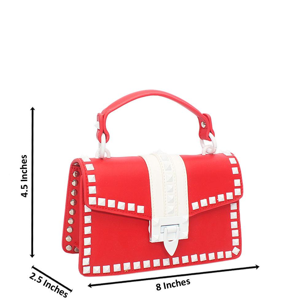 Red White Studded Cow Leather Mini Handbag