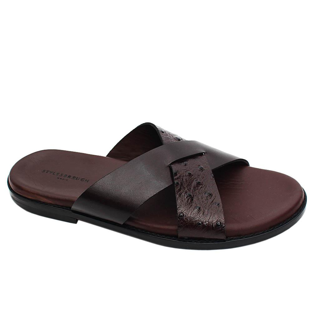 Coffee Connor Italian Leather Men Slippers
