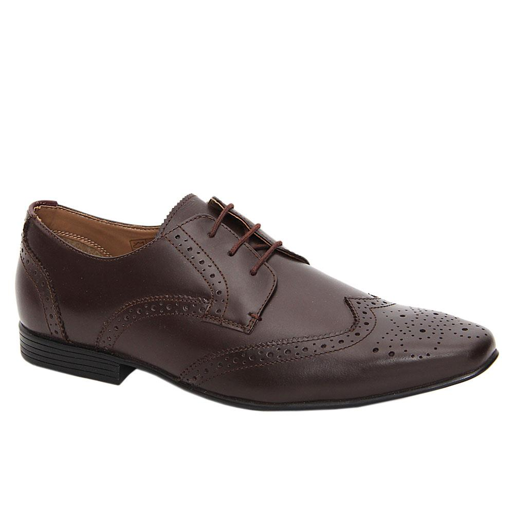 Coffee Kenford Leather Men Derby Shoes