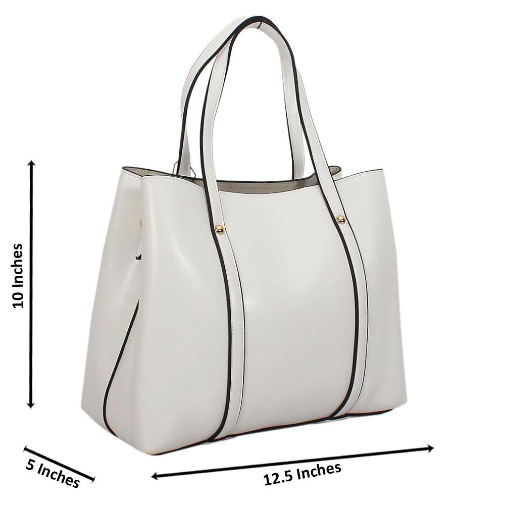 White Bella Smooth Leather Tote Handbag