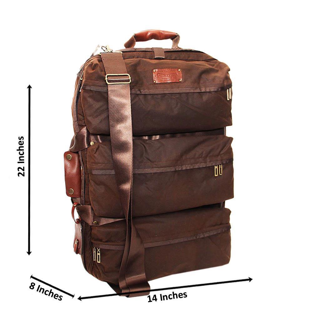 Coffee Leandro Fabric Duffle Bag