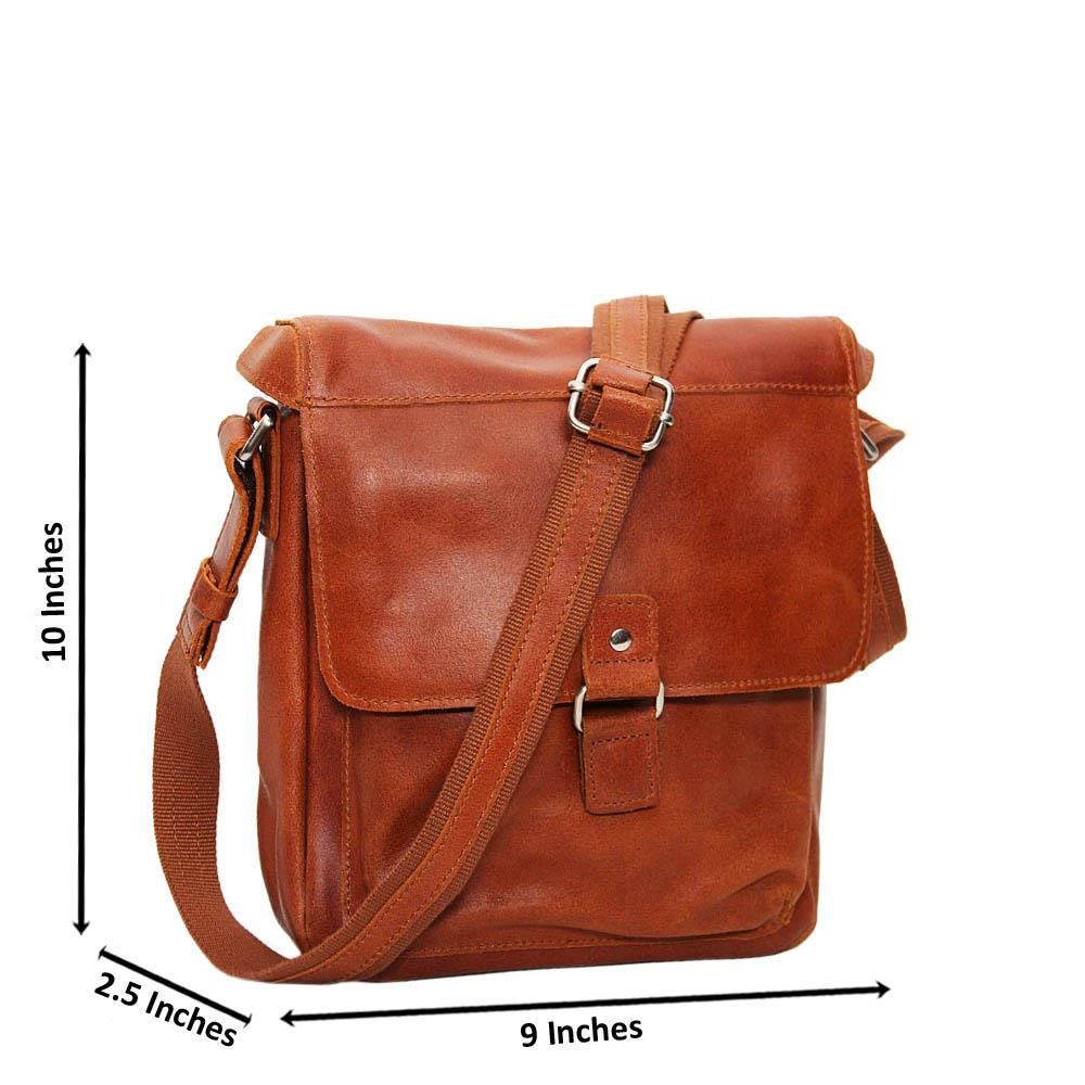 Brown Mason Pure Leather Small Side Bag
