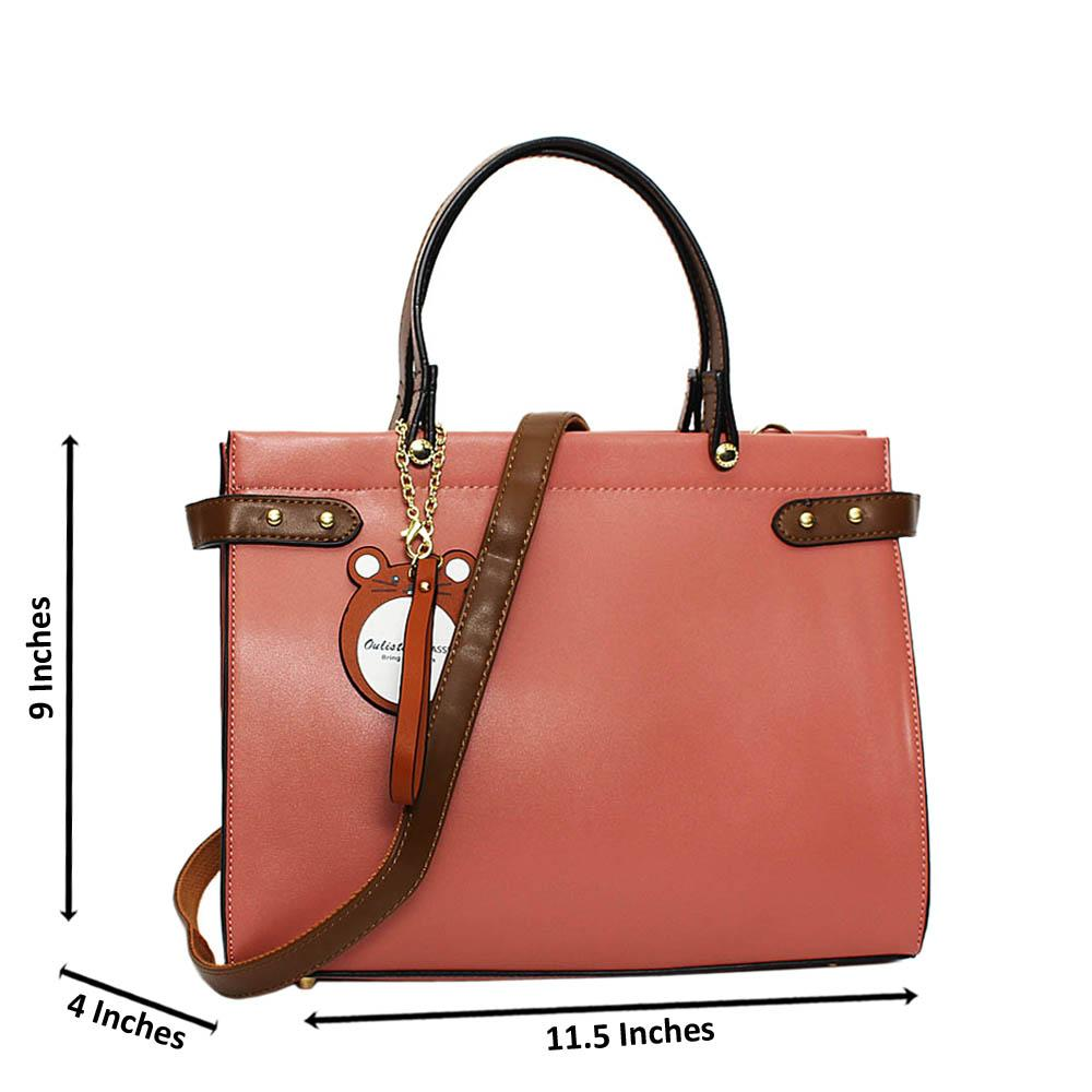 Pink Erika Leather Medium Tote Handbag