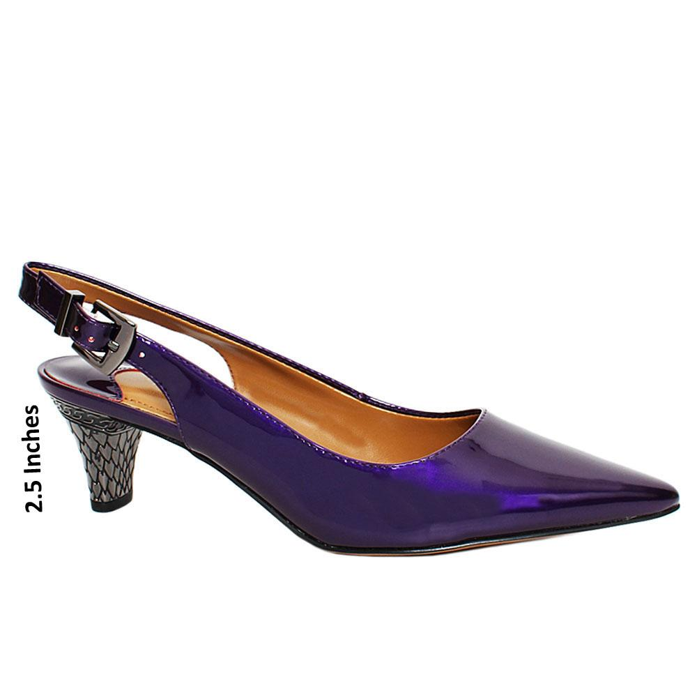 Purple Dollar Patent Leather Slingback Heel