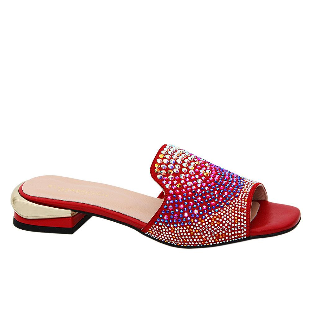Red Marissa Studded Tuscany Leather Low Heel Slippers