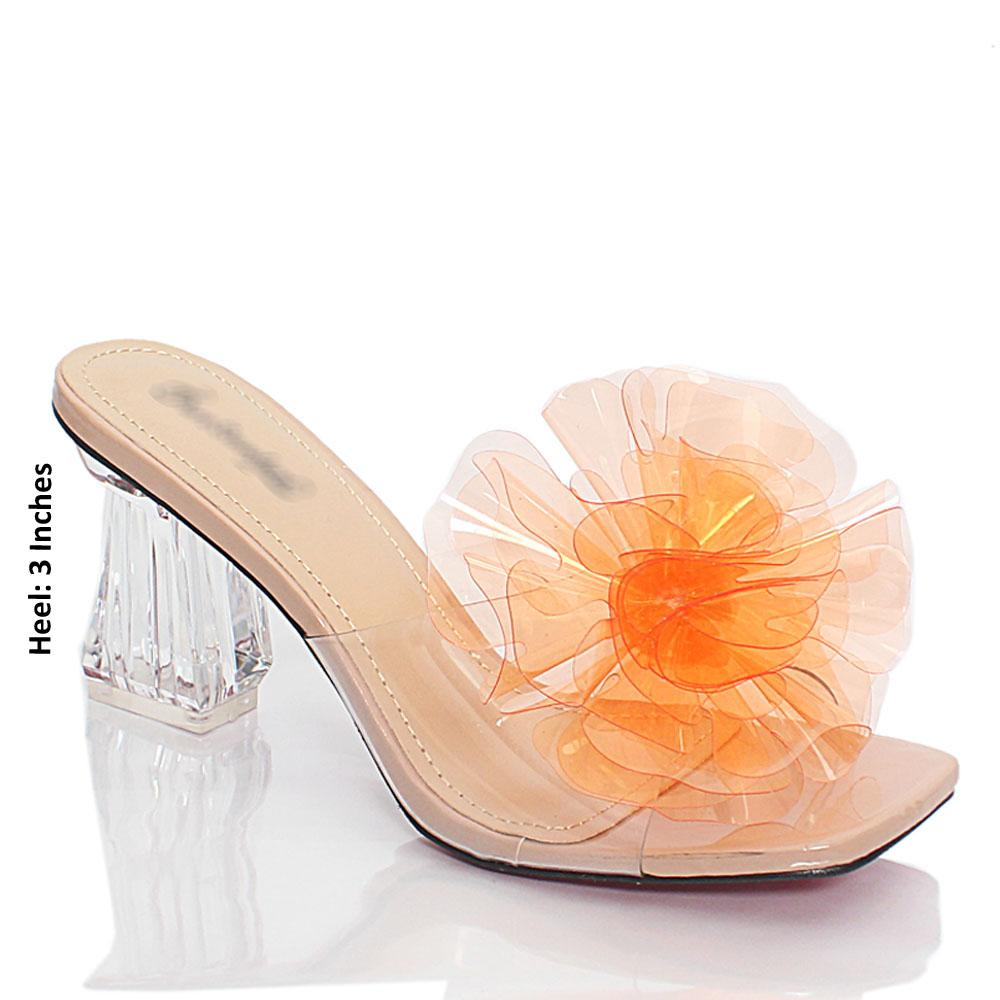 Beige Orange Crystal Glass Rubber Leather Mule