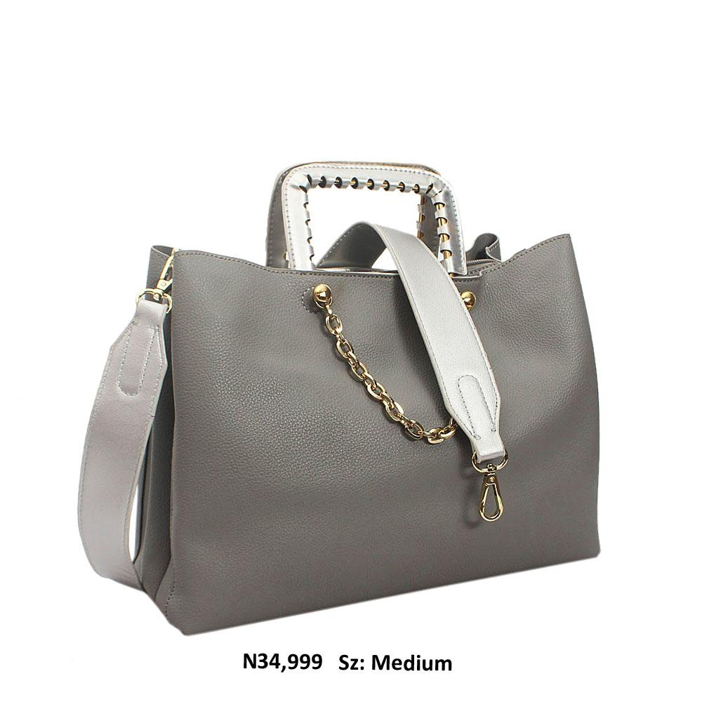 Grey Bria Leather Metallic Handle Tote Handbag