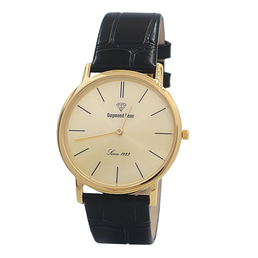 Black Gold Classic Leather Flat Watch