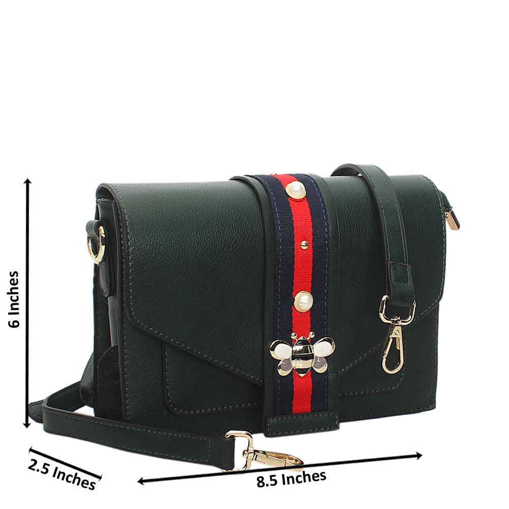 Green Scarlett Leather Crossbody Handbag