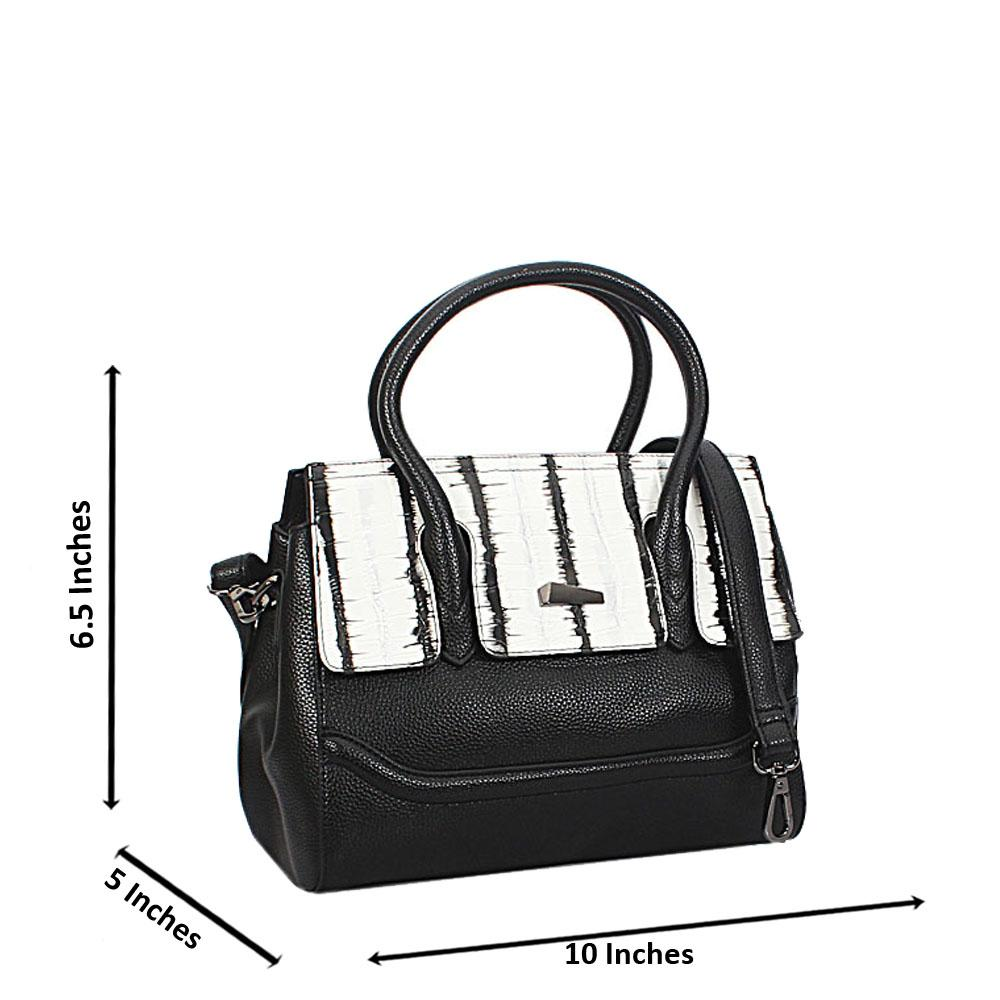Black White Mix Julia Croc Leather Small Tote Handbag