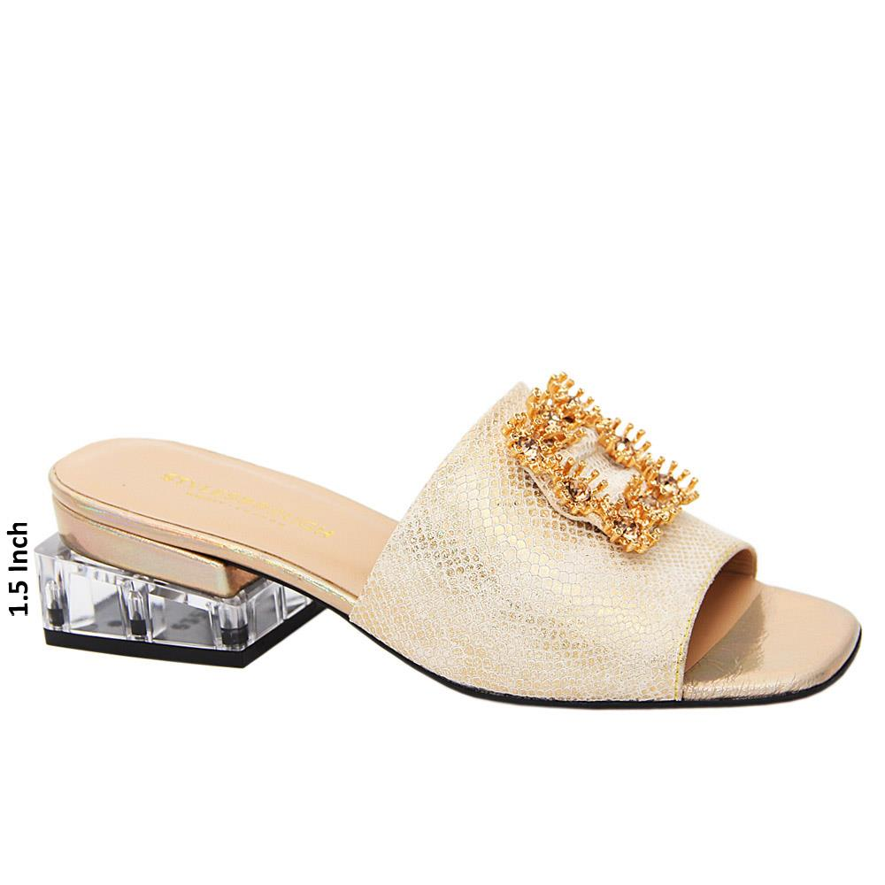 Gold Valeria Tuscany Leather Low Heel Mule