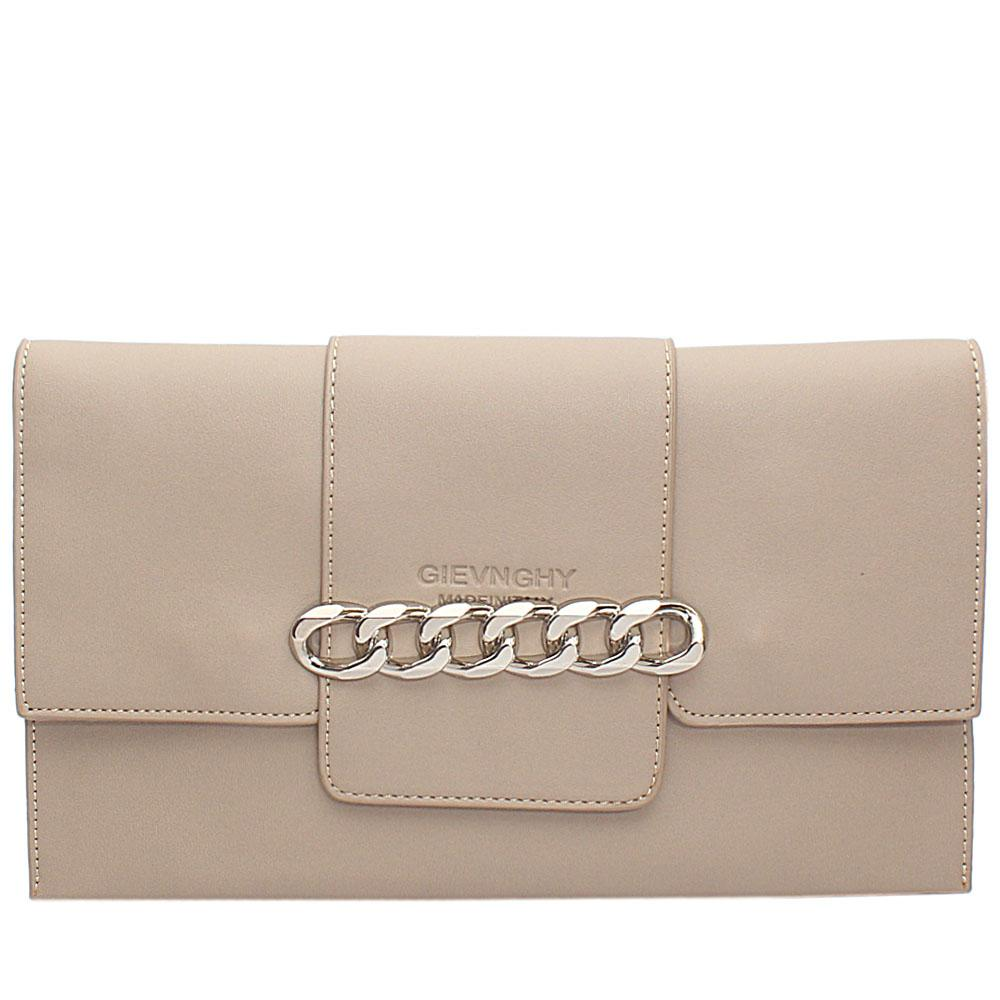 Khaki Arelia Design Leather Flat Purse