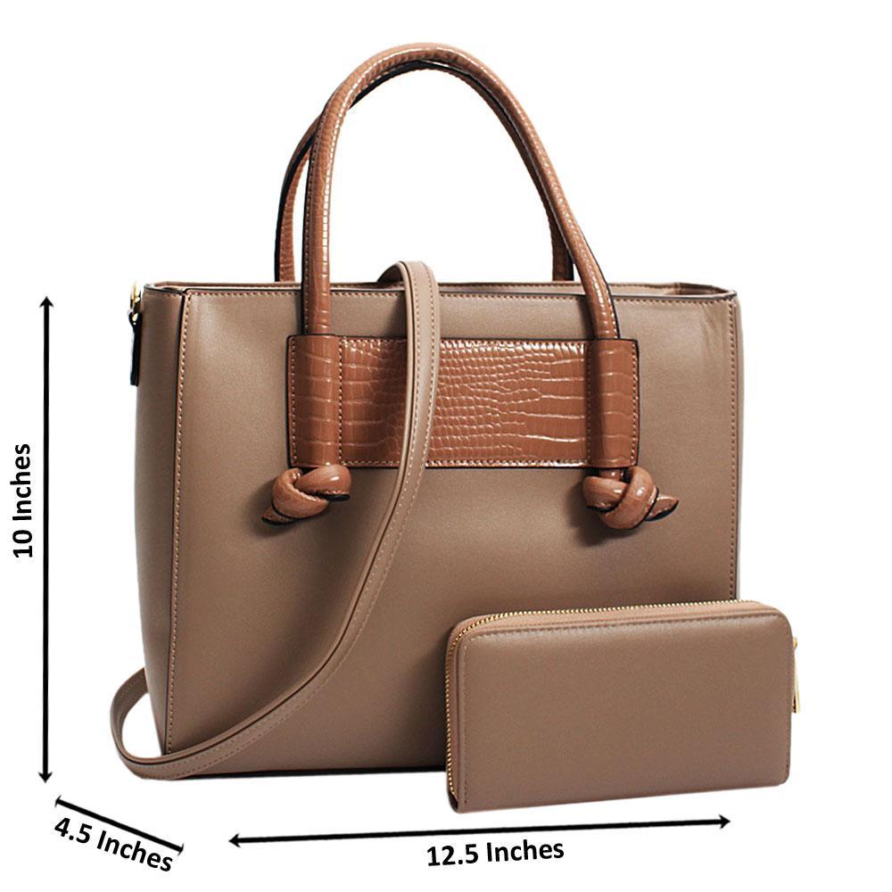 Khaki Neomi Mix Croc Leather Large Tote Handbag