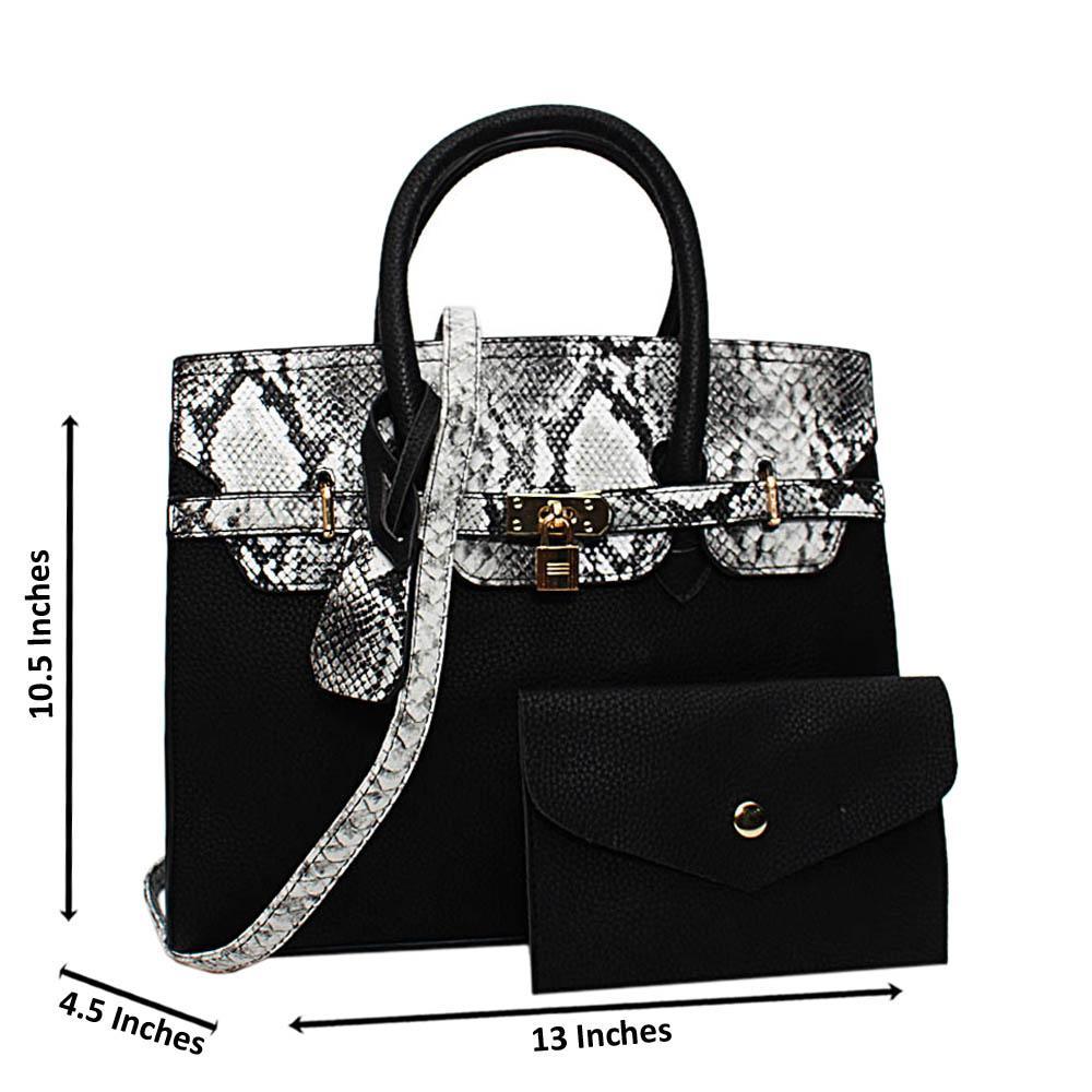 Black Oakley Mix Snake Leather Medium Tote Handbag