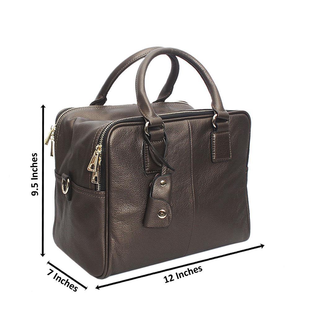 97acbbea4678 Lorena Metallic Bronze Double Zip Montana Leather Handbag