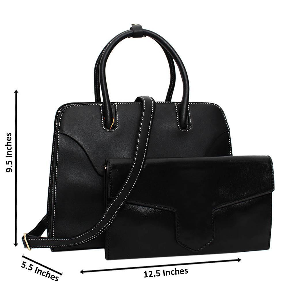 Black Hester Leather Medium Tote Handbag Wt Clutch Purse