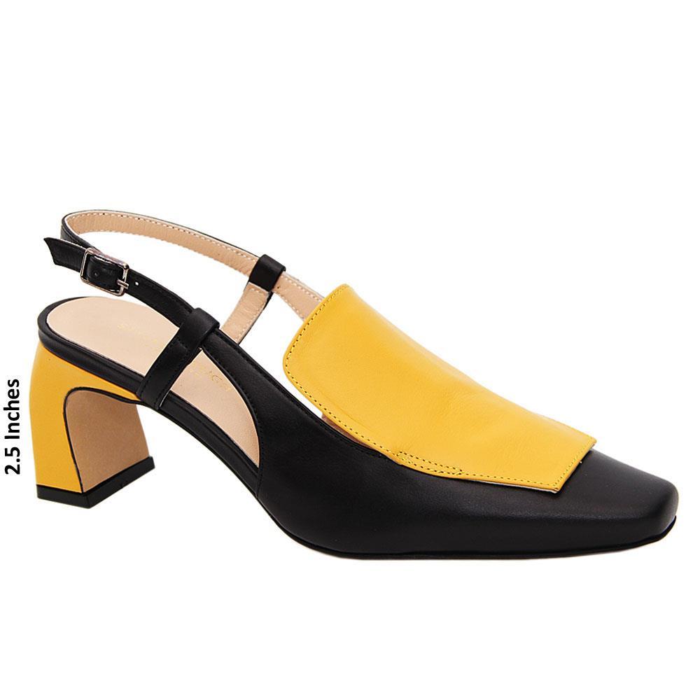 Black Yellow Lina Tuscany Leather Mid Heel Slingback Pumps