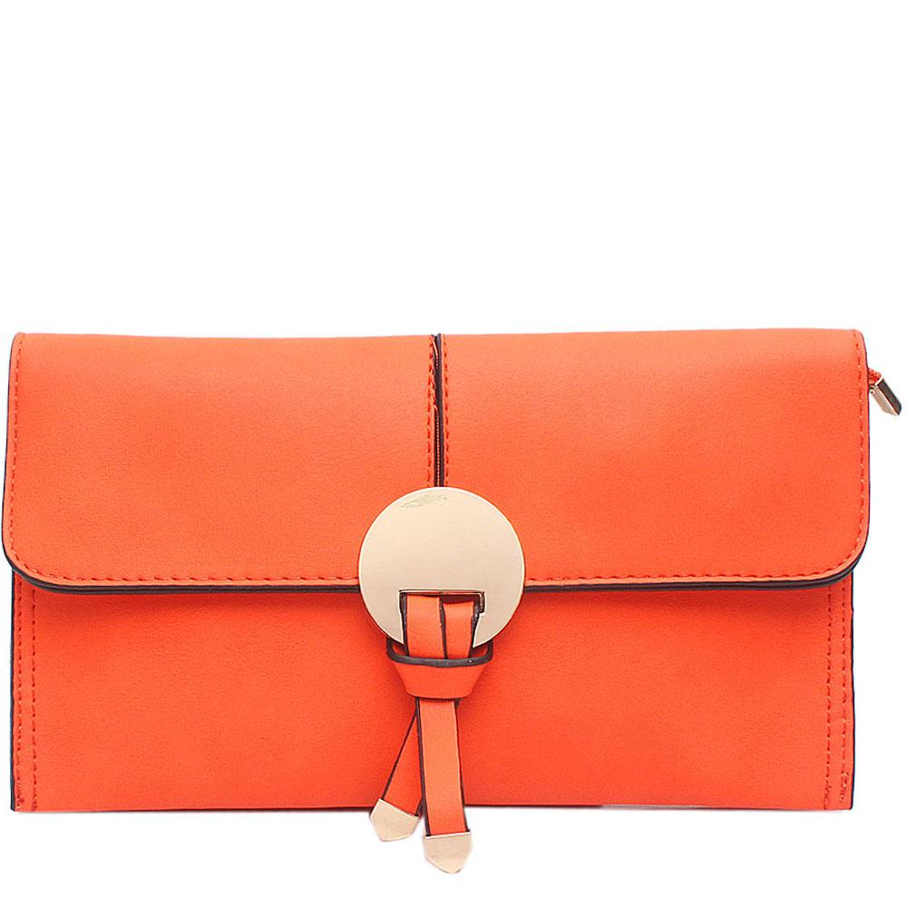 Orange Leather Flat Clutch