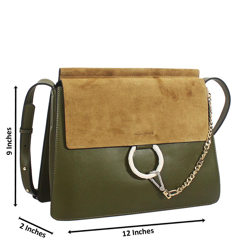 Green Lauretta Suede Leather Crossbody Handbag