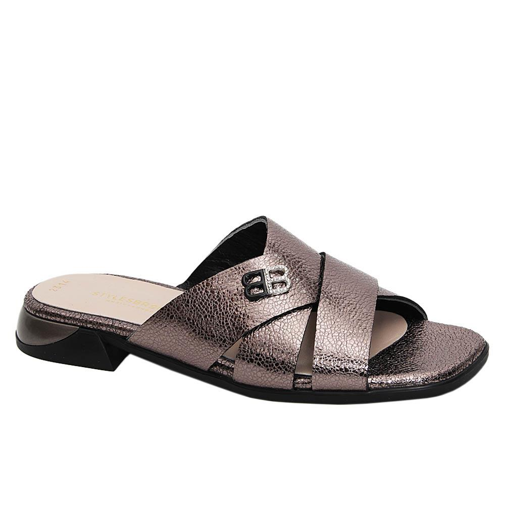 Metallic Gray Lucia Tuscany Leather Low Heel Slippers