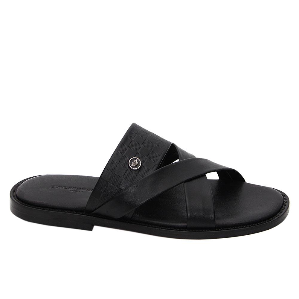 Black Bautista Italian Leather Slippers