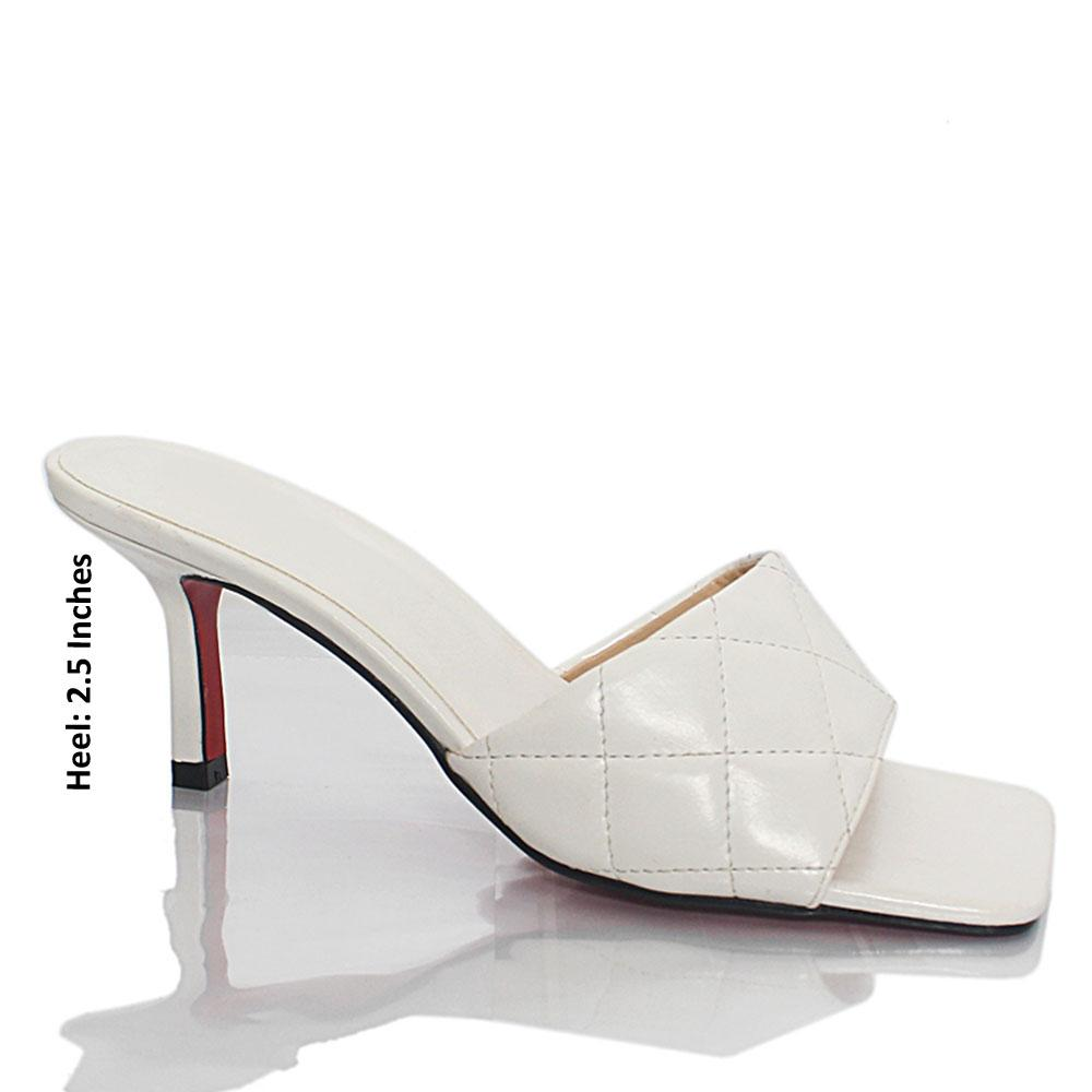 White Alisson Parker Leather Mules