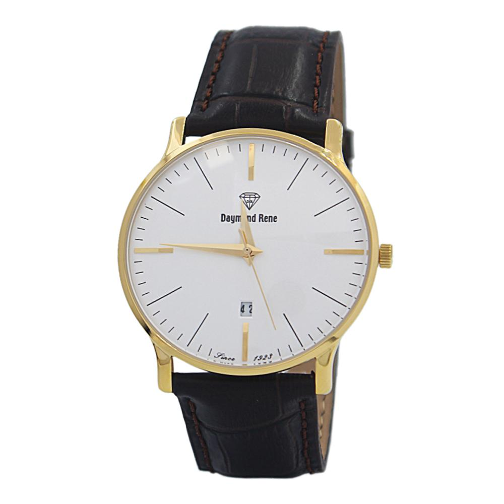 DR 3ATM Coffee Gold Leather Flat Watch