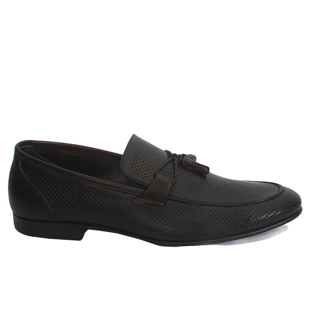 Sabatini Coffee Leather Bit Loafers