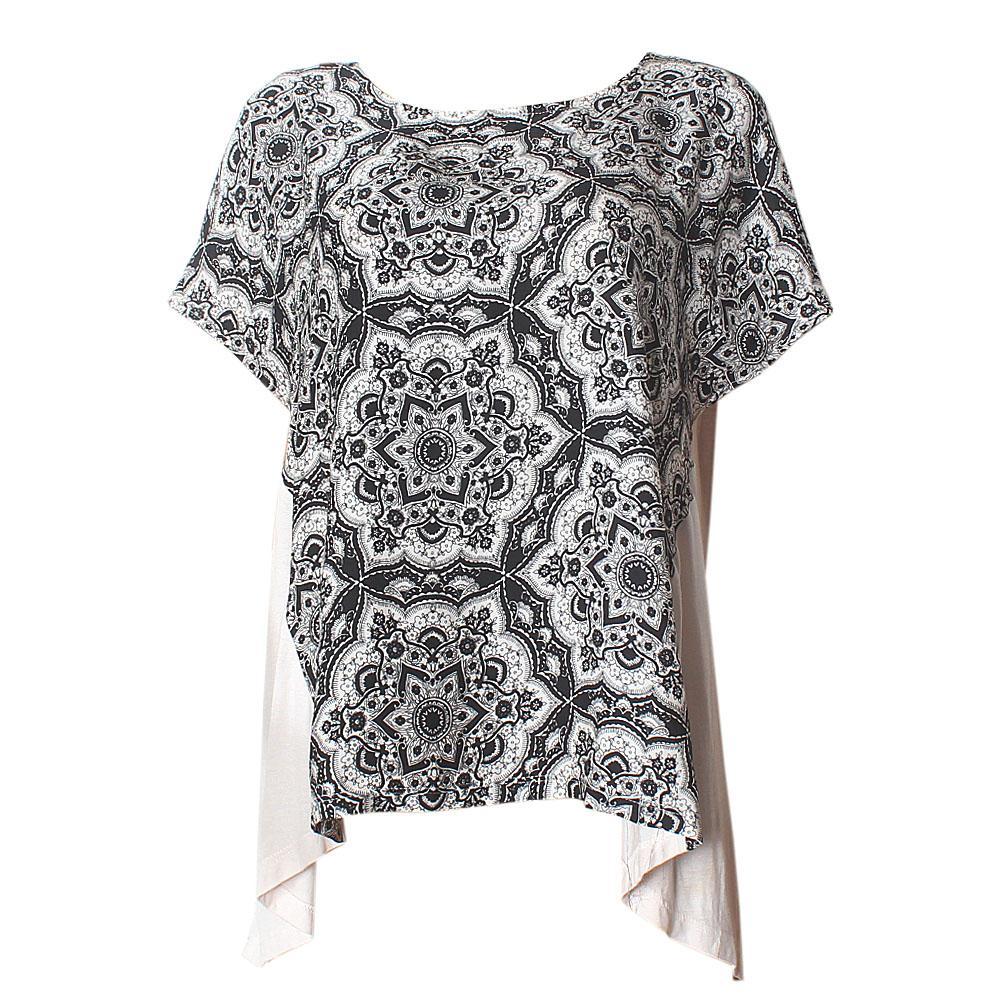 M & S Black Mix Floral Design S-Sleeve Cotton-Chiffon Ladies Top -UK 12
