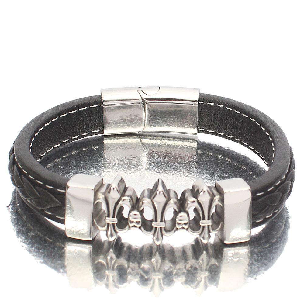 Silver Chrome Black Leather Bracelet