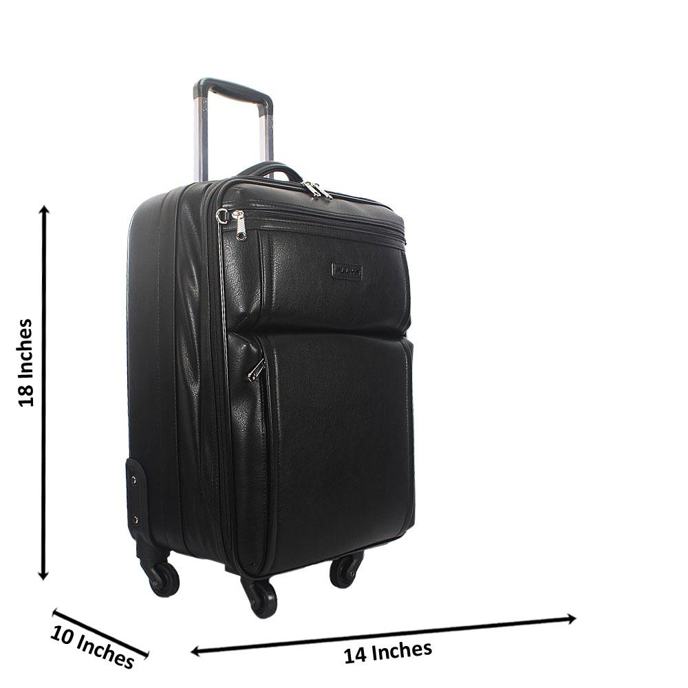Black 18 Inch Leather Carry On Luggage