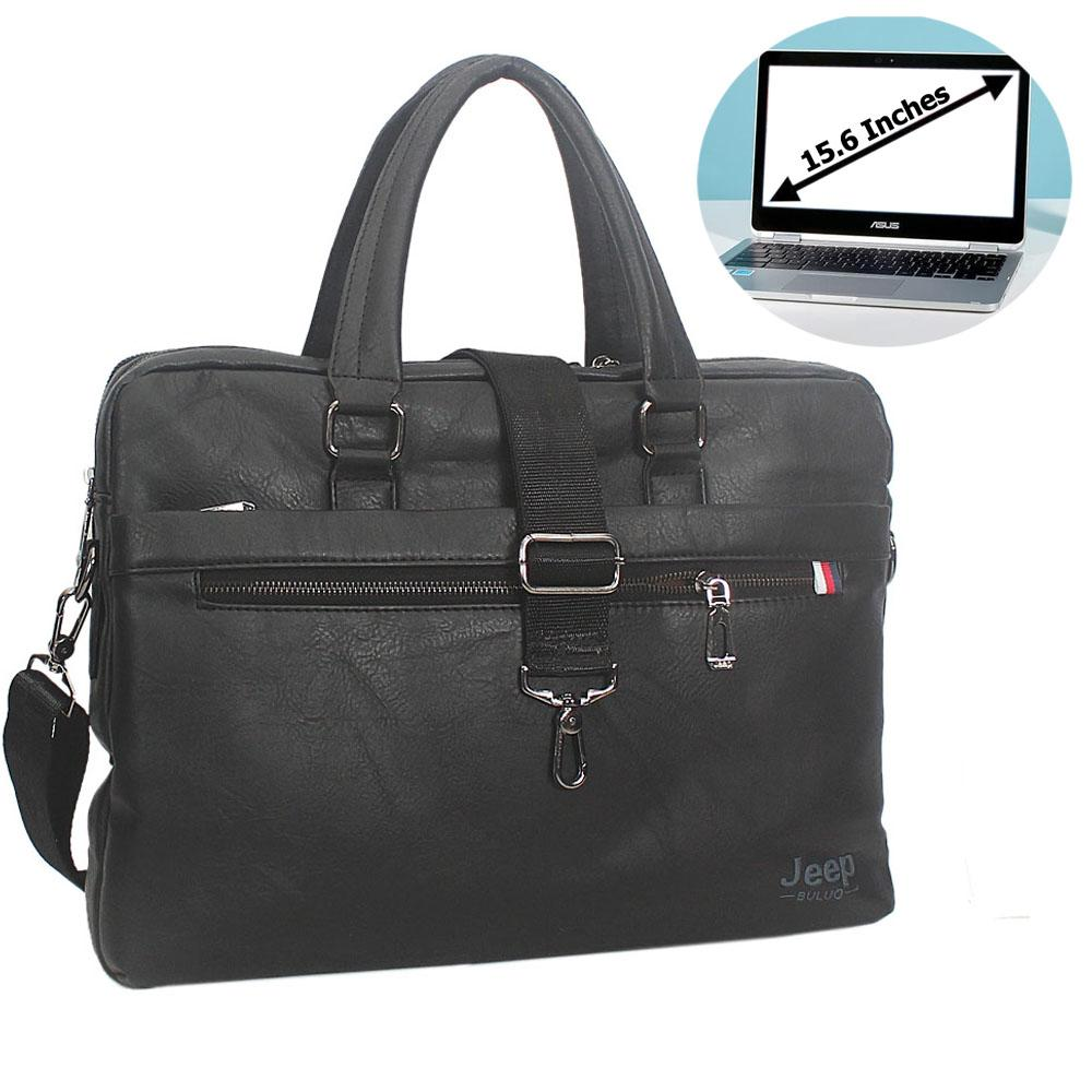 Black Fernando Leather Double Zipper Briefcase