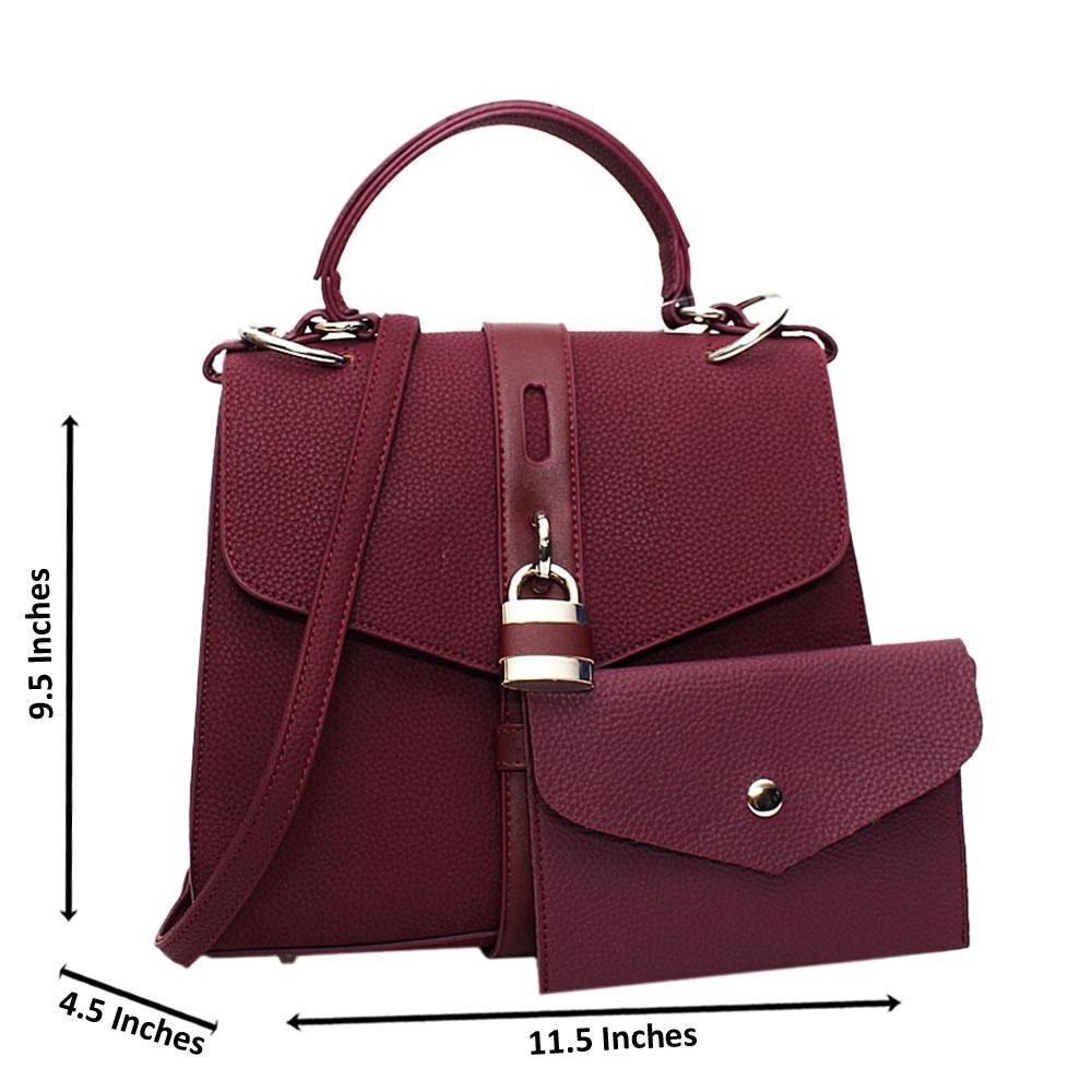 Purple Clara Leather Medium Top Handle Handbag