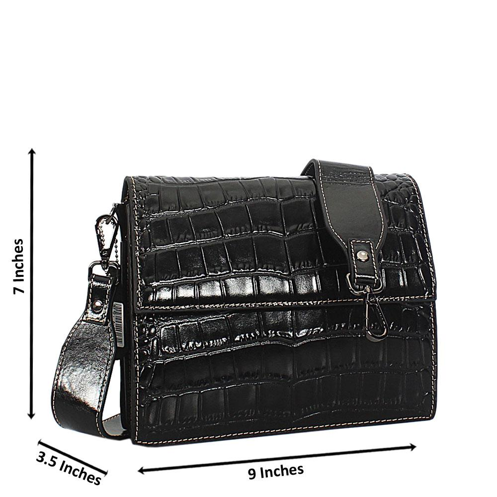 Willa Black Croc Shining Montana Leather Crossbody Handbag