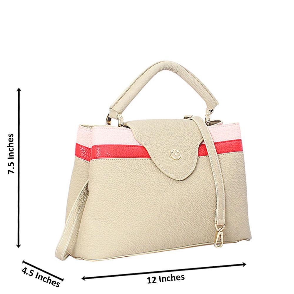 Khaki Mix Calogera Leather Top Handle Handbag