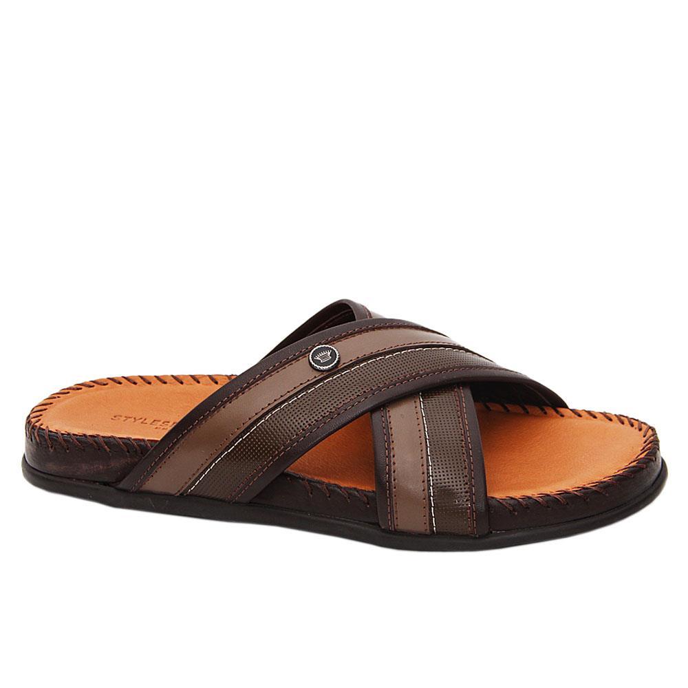 Brown Armando Italian Leather Comfort Sole Slippers