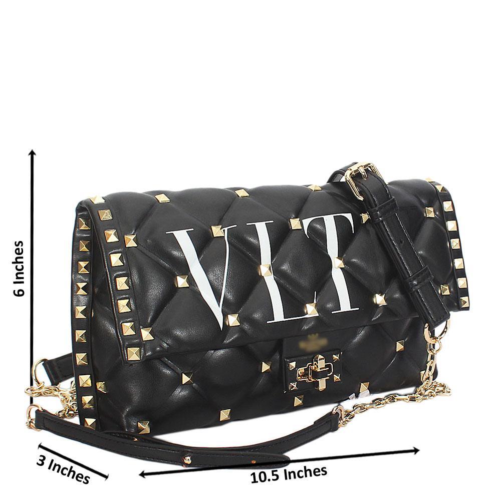 Kira Black Studded Montana Leather Crossbody Handbag